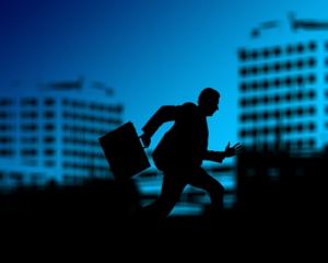 personal security: man running with brief case